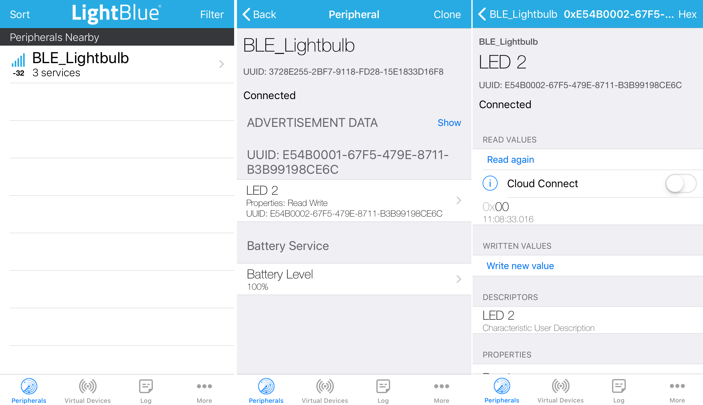 LightBlue showing correct 3 services