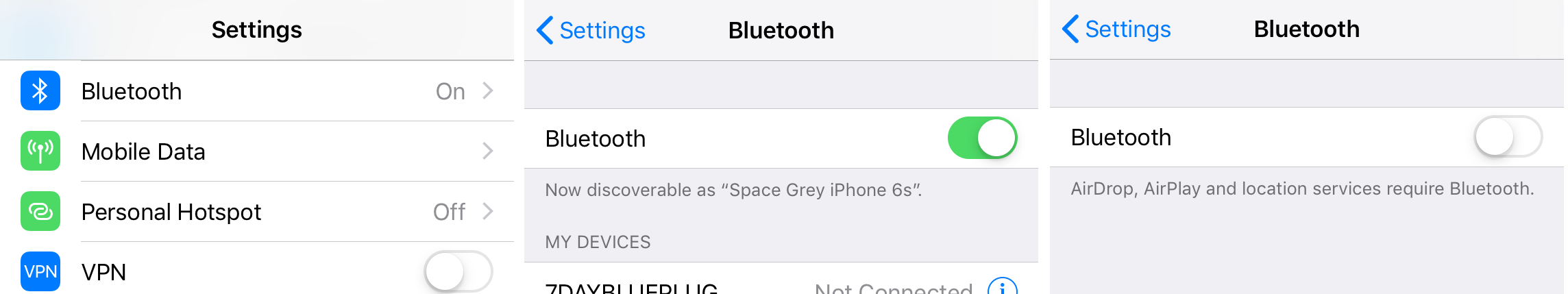 How to switch Bluetooth Off and On in iOS