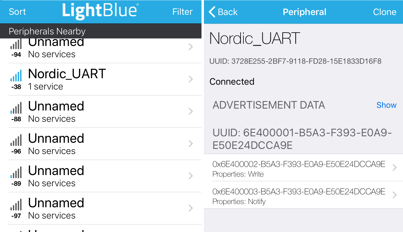LightBlue showing UART service 6E4 instead of LED service E54B