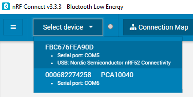 select nRF Dongle in nRF Connect for desktop